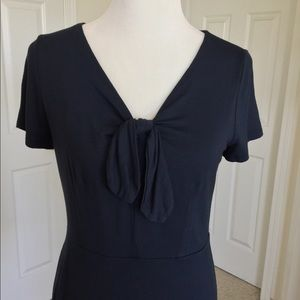 LOFT Navy Dress With Bow Accented Neckline NWT